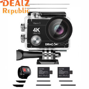 Dragon Touch 4K Action Camera 16MP Vision 3 Underwater Waterproof Black