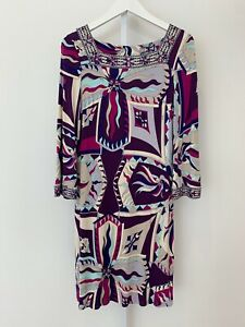 EMILIO PUCCI PURPLE MULTI PRINT SQUARE NECK BELL SLEEVE DRESS 06RG18 SIZE 12