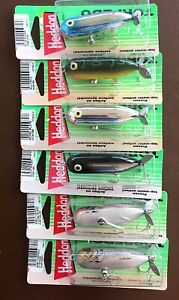 Five (6) Heddon Baby Torpedo Prop Bait Fishing Lures New in Package Lot #2