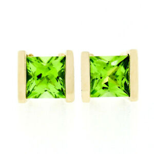Classic 14K Yellow Gold 2.60ct Square Cut Channel Set Peridot Post Stud Earrings