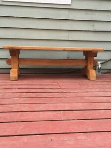 Brand new barn bench. Timber frame. Waterproof stain. Wood with wooden pegs.