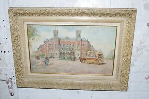 Antique Signed H Albrecht Victorian Painting on Wood Ornate Carved Frame $600.00
