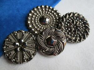 6254 – Four Silver Lustered Black Glass Antique Buttons 3 w4-way Box Shanks