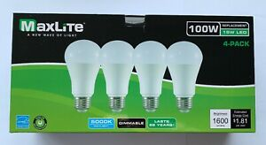 4 Maxlite Dimmable LED Daylight Light Bulb 15 Watt 100 Watt replacement 5000k