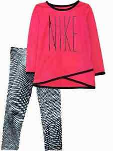 Nike Dry Toddler Girls Outfit Pink Dri Fit Shirt & Black Geometric Leggings $29.99