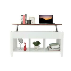 Lift Top Coffee Table w Hidden Compartment Storage Shelves Modern Furniture $89.99