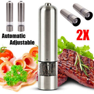 2X Electric Salt Pepper Grinder Set Battery Operated Auto Stainless Steel Shaker