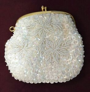Cream beaded and sequined vintage snap purse from Jem of Hong Kong $5.99