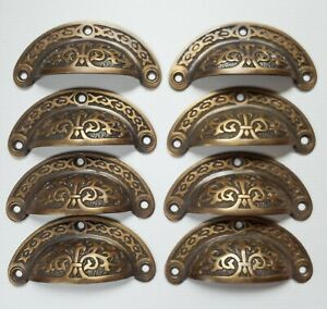 8pc Antique vtg. Style Victorian Brass Apothecary Bin Pulls Handles 3quot; cntr. #A5