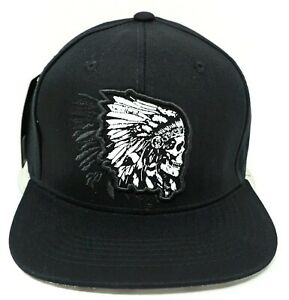 Indian Warrior Chief Skull Snapback Cap Hat Native American 100% Cotton OSFM NWT
