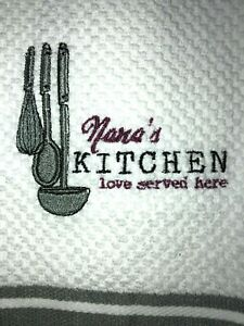 Embroidered Kitchen Hand Towel Nana#x27;s Kitchen Love Served here with Utensils