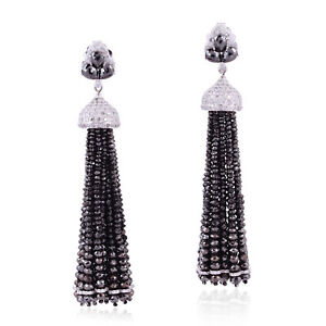 Diamond Solid White Gold Designer Tassel Earrings Memorial Gift Jewelry