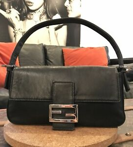 PRISTINE Authentic FENDI Baguette Black Nappa LEATHER Collectible Shoulder Bag