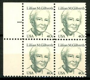 Lillian M Gilbreth Numbered Plate Block of 4 Plate 1 MNH Scott's 1868
