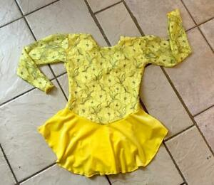 NEW GIRLS Canary YELLOW Floral Lace VELVET Competition FIGURE ICE SKATING DRESS