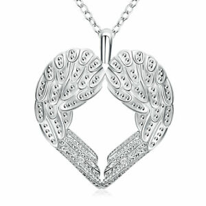925 Sterling Silver Angle Wing Heart Pendant Necklace 18quot; Women Jewelry Gifts $3.09