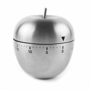 Home Kitchen Cooking Apple Shaped Mechanical Alarm Timer 60 Minutes Silver Tone