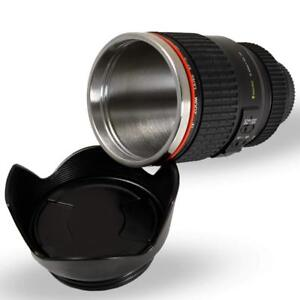 Camera Lens Coffee Mug Cup Thermos Stainless Steel Lining Biscuit Tray Cap Funny