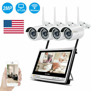 1080P 4CH 12'' Monitor HD Wireless Security Camera System Home CCTV NVR 1TB Kit