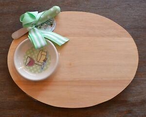 Oval Wood Serving Cutting Board, Bowl & Spreader Knife Gift Set by Mud Pie