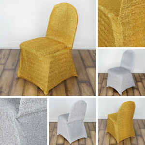 50 pcs Metallic Spandex CHAIR COVERS Slipcovers Wedding Party Decorations SALE