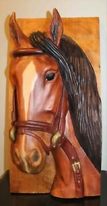 HORSE HEAD SCULPTURE  CARVING - ALL HAND CARVED From Single Piece of Wood!!!