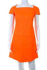Ralph Lauren Collection Orange Leather Square Neck Shift Dress Size 4 NEW $3500