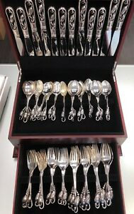 George Jensen Blossom No 84 Sterling Silver Flatware Set 60 PCS