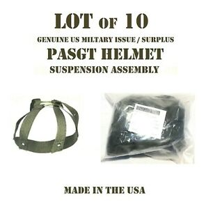 LOT of 10 XS NEW COMBAT HELMET w/ KEVLAR PASGT GROUND TROOPS SUSPENSION ASSEMBLY