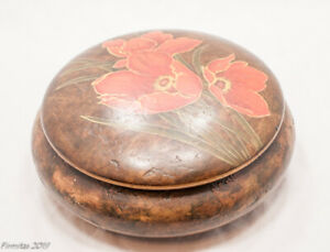 Brown Circular Storage Collector Box New Precious Items Painted Flowers Lid $19.99
