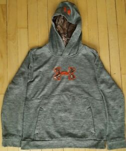 Under Armour Storm1 Hoodie ColdGear YLG Youth Large Gray Orange Camo Swearshirt