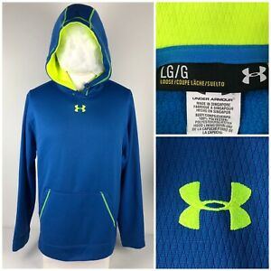 Under Armour Mens Large Hoodie Blue Sweatshirt Embroidered Logo Style 1240535