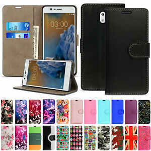 For Nokia 3 (2017) Case, Leather Wallet Flip Book Stand View Card Holder Cover