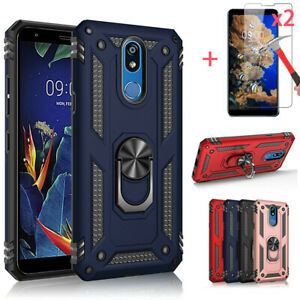 For LG Stylo 5  5 Plus Shockproof Armor Magnetic Ring Stand Case+Tempered Glass