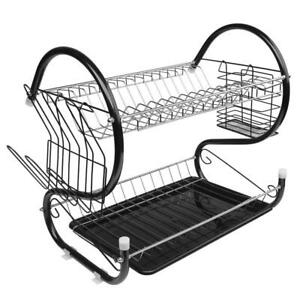 Stainless Kitchen Dish Cup Drying Rack Holder Sink Drainer 2-Tier Dryer Rack US
