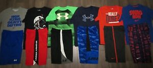 Lot 12 Boy's UNDER ARMOUR NIKE Dri-Fit T-Shirts Athletic Shorts YLG Large 1416