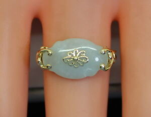 Elegant Unisex 14K Gold & Natural WhiteLavender Jade Ring Size 8