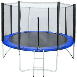 12FT Round Trampoline Combo Safety Enclosure Bounce Jump Net wSpring Pad