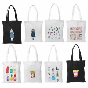 Lady Shopping Canvas Shoulder Strap Reusable Food Comestic Organizer Tote Bag