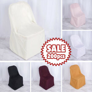 200 POLYESTER Folding Flat CHAIR COVERS Wedding Trade Show Banquet Decorations