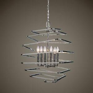 Contemporary 6 Light Pendant Chandelier Polished Silver Nickel Frame Modern Chic