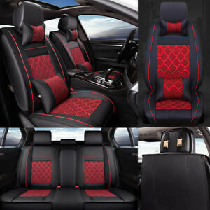 Black Red Car Seat Cover Deluxe PU Leather Front&Rear Full Set 5 Seats Universal