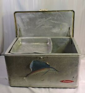 American Camping Supplies Cronco Cooler Box Aluminum Vintage 1950#x27;s NICE Large