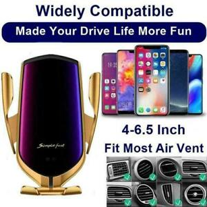 2 in 1 10W Wireless Car Phone Charger Auto Clamping Smart Sensor Fast Charger US