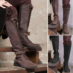 Mens Vintage Knight Knee High Lace Up Boots Steampunk Tall Medieval Male Shoes