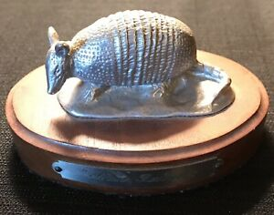 Silver Bullet Armadillo Figurine Paperweight Statue Animal Pewter
