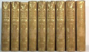 1852~Brown 9 Book Lot~OLD Antique Decor Set~NOVELS TALES by MARIA EDGEWORTH