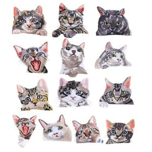 Cat Clothing Embroidered Applique Iron on Patches Accessories Stickers Clothes Q