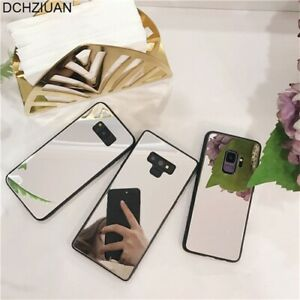 Tempered Glass Mirror Soft Phone case for Samsung S8 S9 S10 Plus Note 8 Note 9