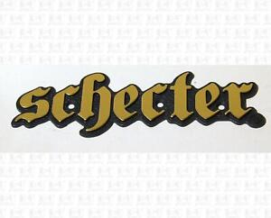 Schecter Amplification Guitar Amp Gold and Black Plastic Name Plate Badge Medium $4.28